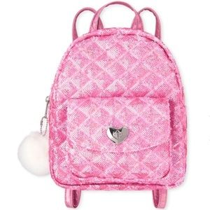 Pink Sequined Quilted Mini Backpack